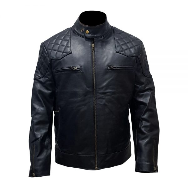 Real Leather Biker Black Jacket With Stand Collar
