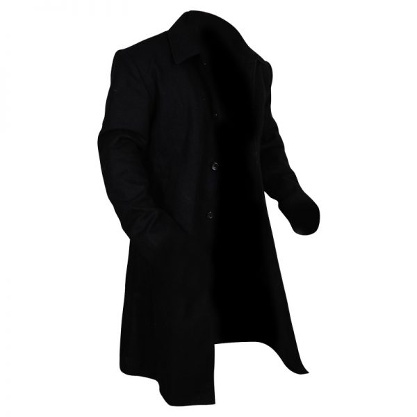 Men Stylish Black Lapel Wool Coat