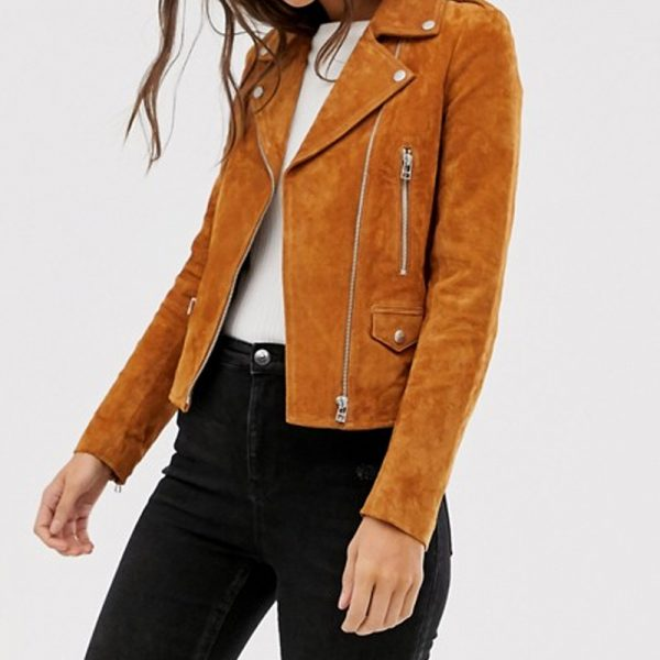 Pure Suede Biker Jacket For Women