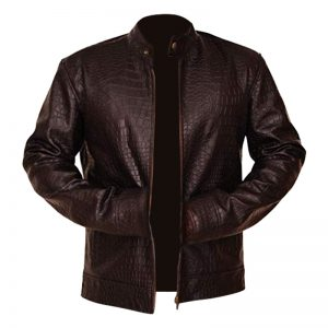 Classy Men's Crocodile Skin Brown Leather Jacket