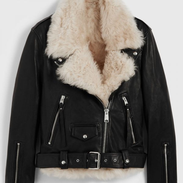 Pure Biker Shearling Leather Jacket For Women