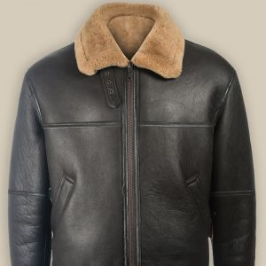 Aviator Black Shearling Jacket For Men