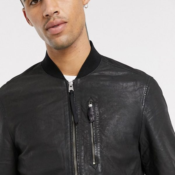 Classic Kino Bomber Leather Jacket For Men