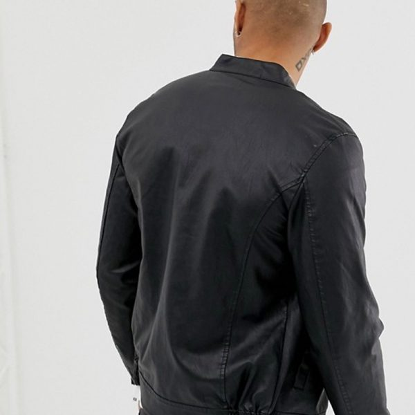 Black Leather Racer Jacket with Zipper Detail