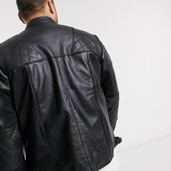 Biker Quilted Black Leather Jacket For Men