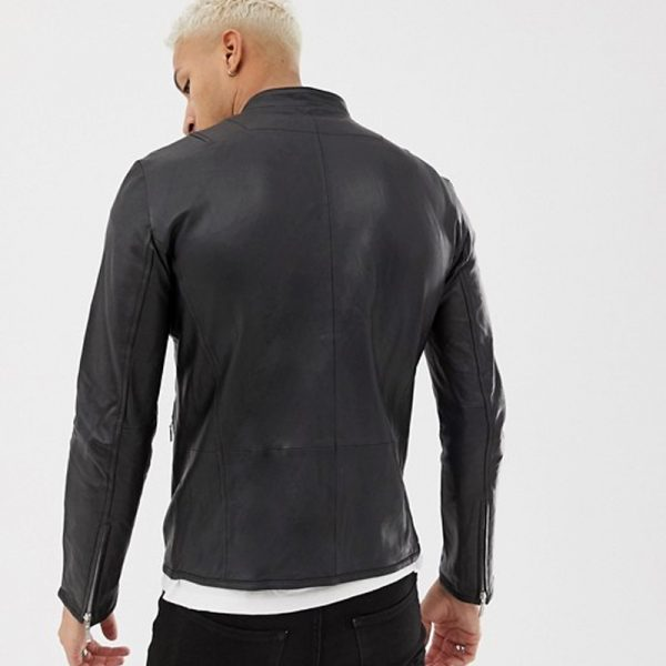 Pure Leather Racer Jacket in Black