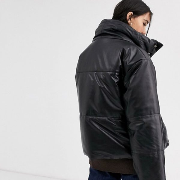 Black Leather Padded Jacket With Funnel Neck