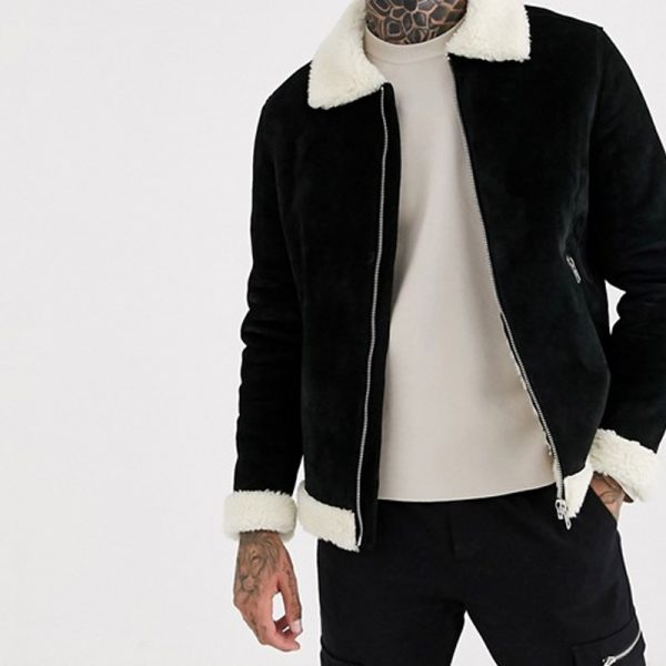 Pure Leather jacket With Black Suede For Men