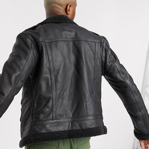 Men's Black Shearling Leather Jacket