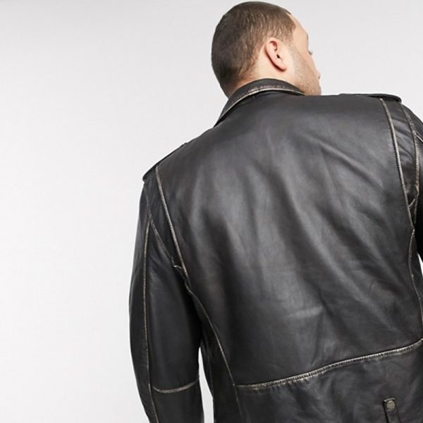 Plus-Size Antique Finish Biker Leather Jacket