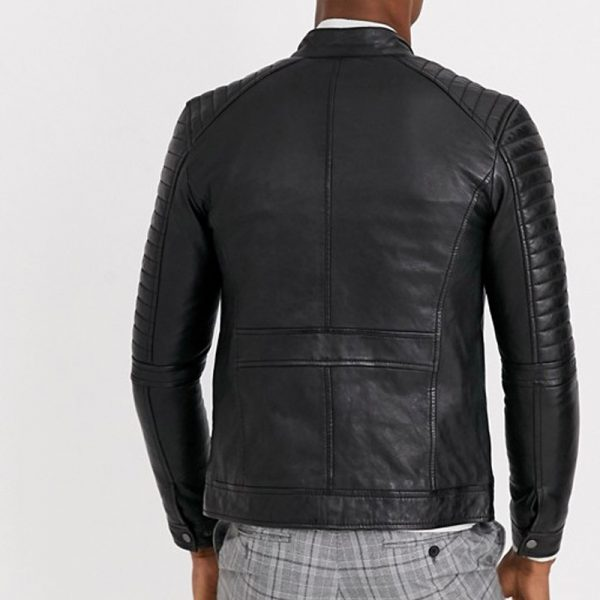 Men's Real Leather 4 Pocket Biker Jacket