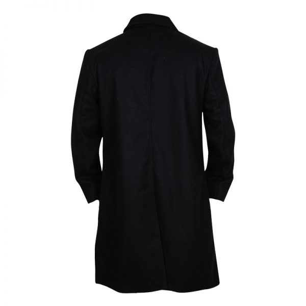 Classic Black Lapel Wool Coat For Men