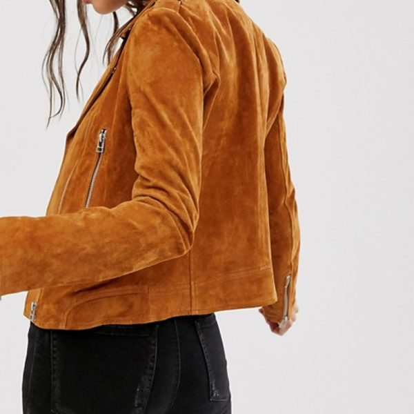 Suede Biker Jacket For Women