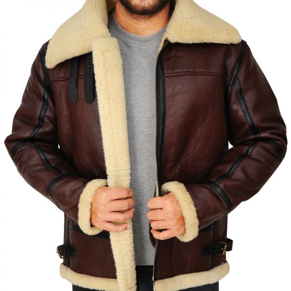 Pure B3 Bomber Brown Leather Jacket