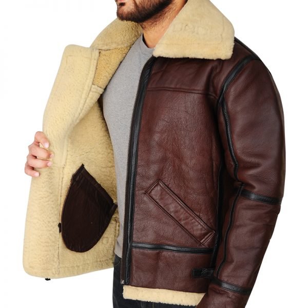 Buy B3 Bomber Aviator Shearling Brown Leather Jacket