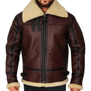 Men Shearling B3 Bomber Brown Jacket