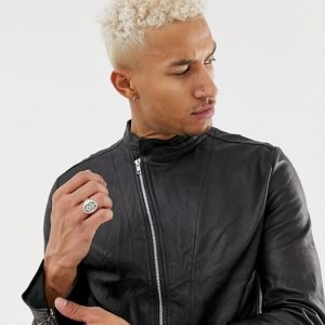 Buy Racer Black Leather Jacket Online