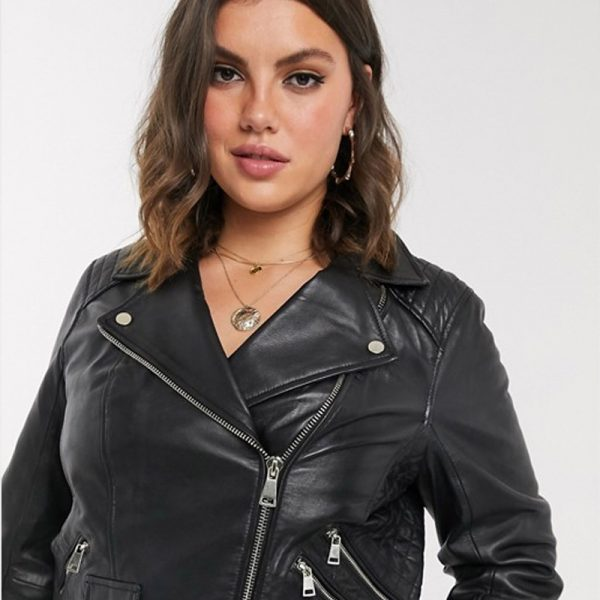 Buy Leather Biker Jacket With Quilted Sleeve