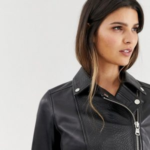 Mock Croc Panels Biker Leather Jacket