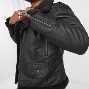 Buy Black Shearling Leather Jacket