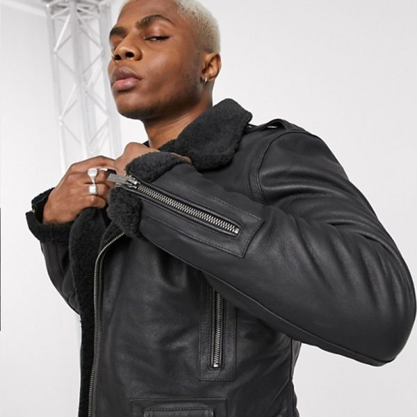Buy Black Shearling Jacket For Men