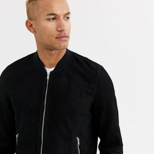 Buy Black Suede Bomber Jacket For Men