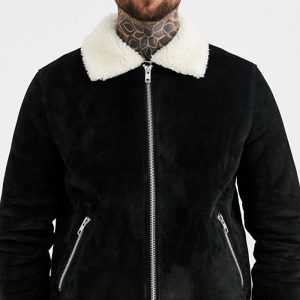 Buy Black Suede Leather Flight Jacket With Ecru Fur
