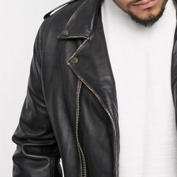 Buy Antique Finish Biker Leather Jacket