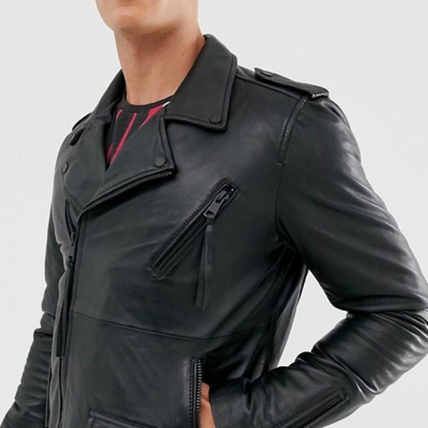 Buy Zipped Biker Leather Jacket