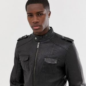 Classic Leather Jacket With Four Pocket