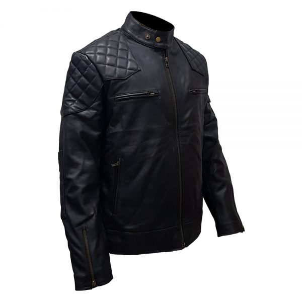 Buy Black Stand Collar Real Leather Biker Jacket