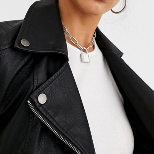 Pure Black Leather Jacket For Tall Women