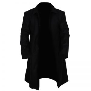 Buy Stylish Black Lapel Wool Coat For Men