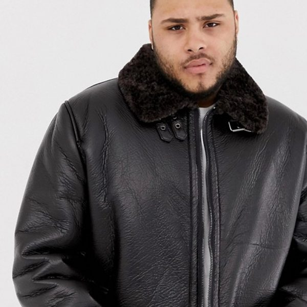 Brown Leather Aviator Jacket For Men