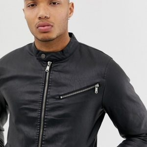 Buy Zipper Black Leather Jacket With Zipper Detail
