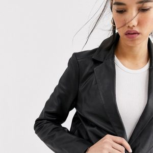 Leather Black Jacket In Blazer Style