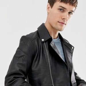Black Zipped Biker Jacket For Men