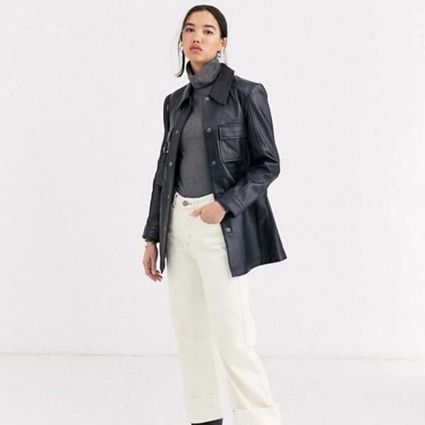 Pure Leather Navy Jacket For Women