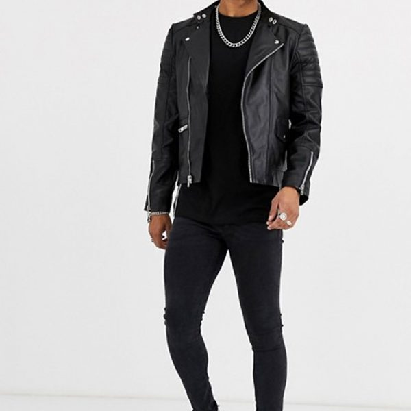 Men With Classy Black Leather Biker Jacket