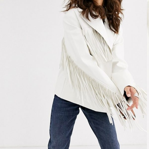 Pure Fringe Leather Jacket For Women