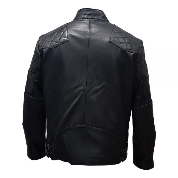 Black Stand Collar Real Leather Biker Jacket