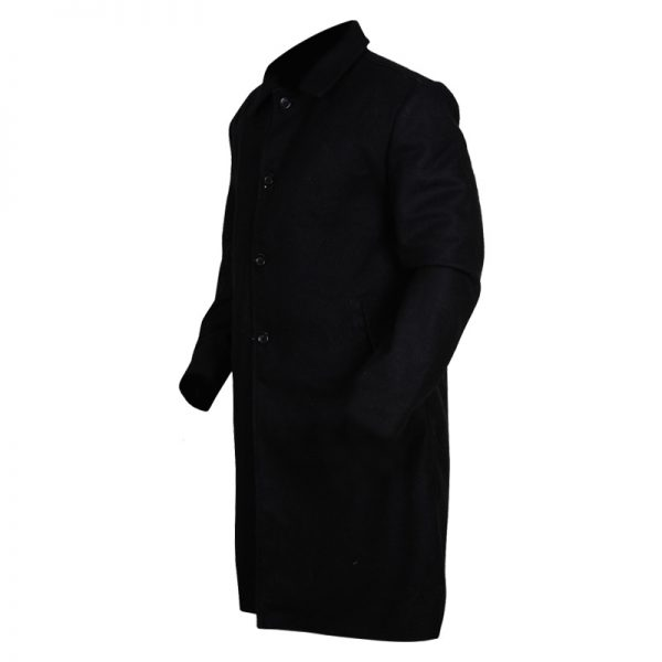 Stylish Black Lapel Wool Coat For Men