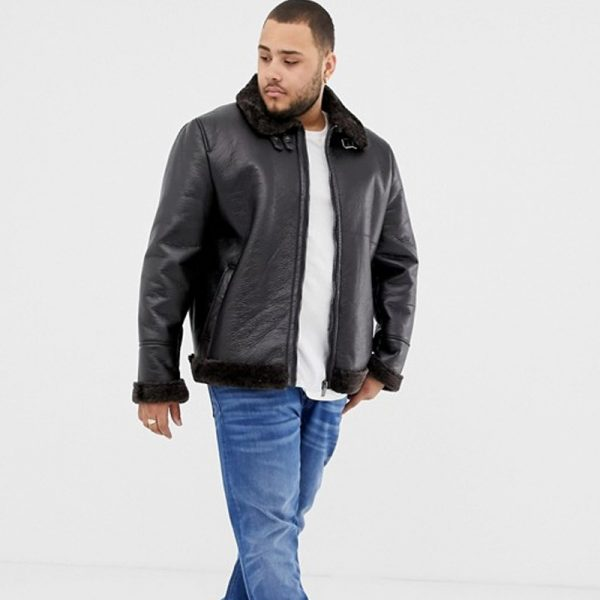 Aviator Big & Tall Brown Leather Jacket For Men
