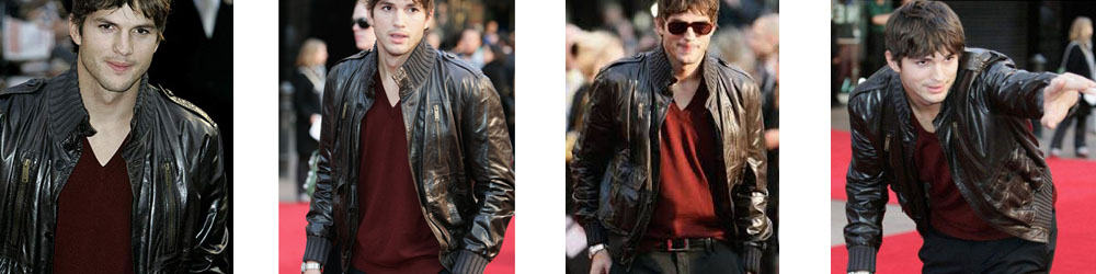 Ashton Kutcher Leather Jacket Replica