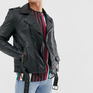 Real Leather Zipped Biker Jacket With Belt