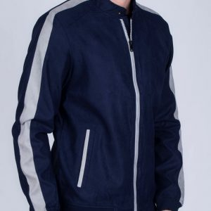 Navy/Gray color in suede leather jacket in fashion