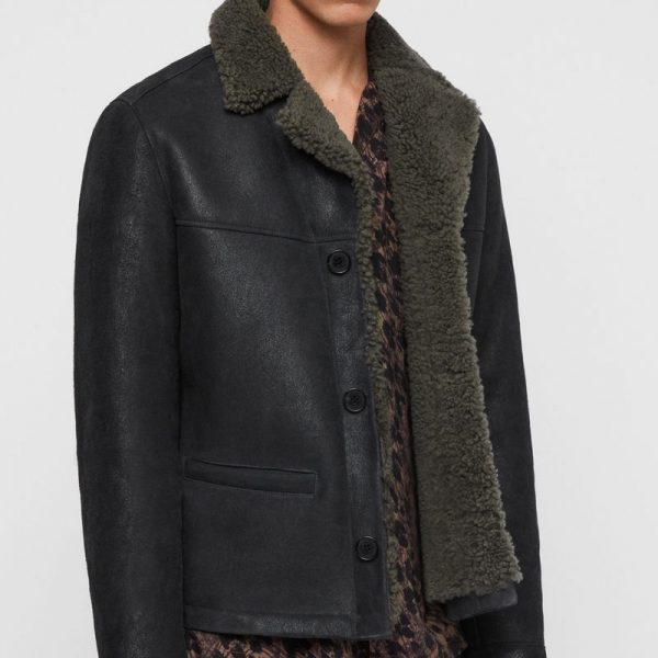 Black Shearling replica Leather Jacket online available for mens,