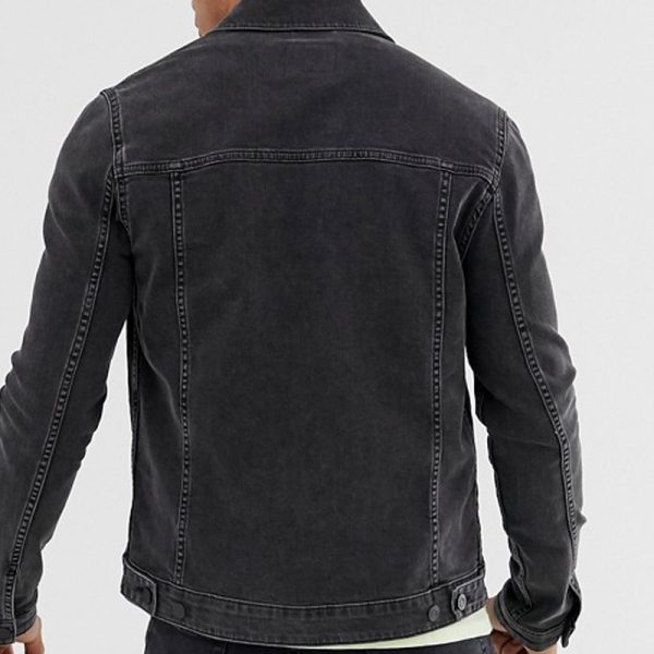 stylish denim black color jacket with washed touched