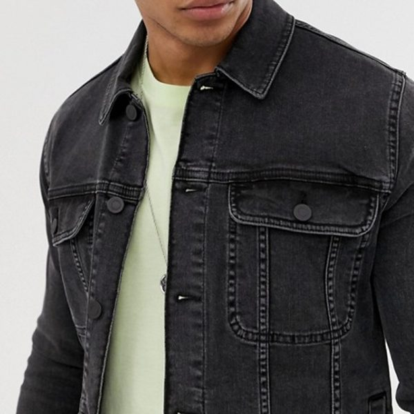 stylish mens jacket in denim fabric