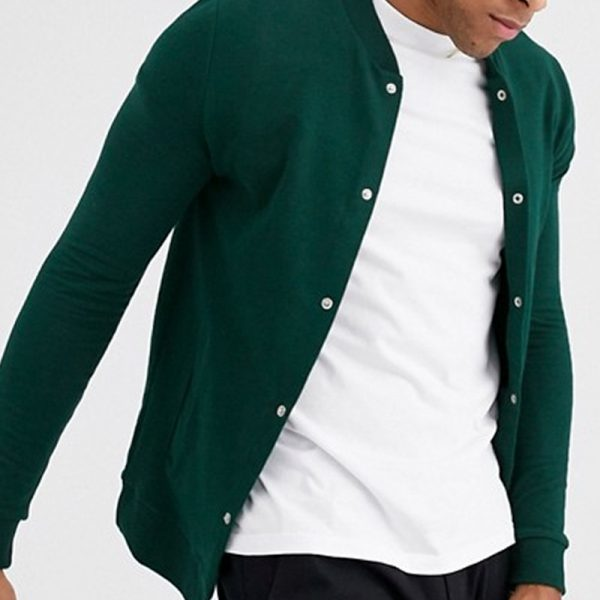organic jersey jacket style in muscle bomber jacket with poppers